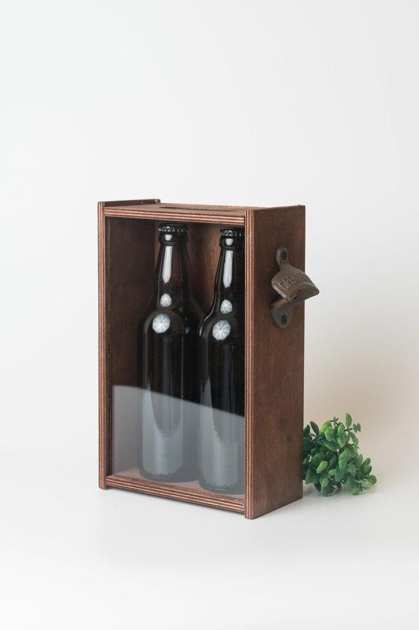 Alus kaste ar stikla vāku + alus korķu glabātava