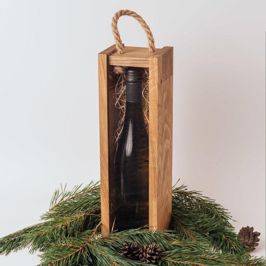 Ozola vīna kaste ar stikla vāku