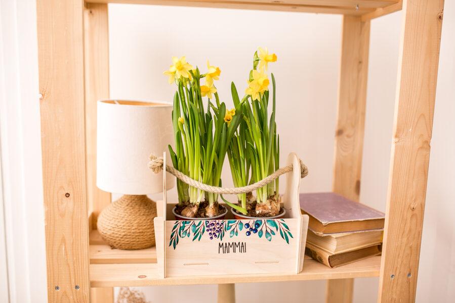 Ziedu kaste ar lapiņām