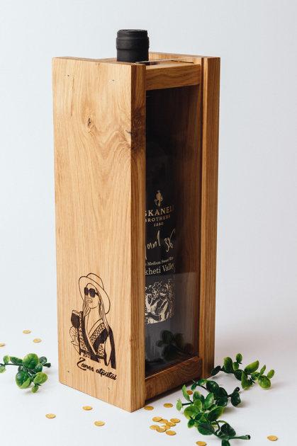 Vīna kaste ar Tavu attēlu, vīna korķu glabātava